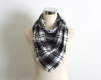 Plaid Flannel Scarf Large Square Flannel Scarf Black White