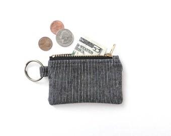 Keychain Coin Purse Black White Stripe