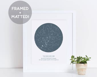 Custom Framed Star Map, Night Sky Print, Father's Day Gift, Personalized Print, Constellation Art, Housewarming Gift, Anniversary Gift