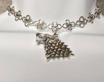 House Stark Choker - Game of Thrones Jewelry - Direwolf Pendant- Arya, Rob, Sansa - Stark Jewelry - Cosplay Jewelry