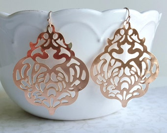 Lg. Rose Gold Filigree Lace Earrings, Unique, Lightweight Romantic Wedding Bridal Jewelry, Boho Earrings, Bridesmaid Gift, Copper