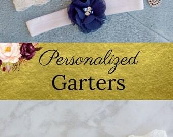 Custom Garter   Something Blue   Garters for Wedding   Bridal Garter Set   Monogram   Personalized Garter