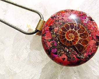Powerful Orgone Pendant - Red Jasper/Red Garnet/Pyrite/Ammonite - FREE WORLDWIDE SHIPPING!