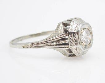 0.28ct Art Deco Diamond Engagement Ring in 14K White Gold