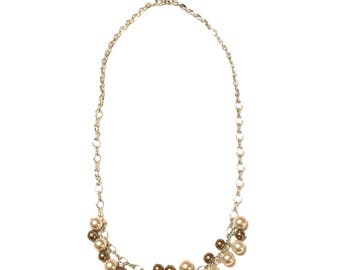 Necklace. Brown and Light Creamy Glass Pearls. Silver.