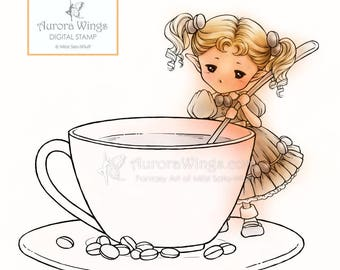 Coffee Sprite - Aurora Wings Digital Stamp - Coffee Fairy Holding a Spoon - Fantasy Line Art for Arts and Crafts by Mitzi Sato-Wiuff