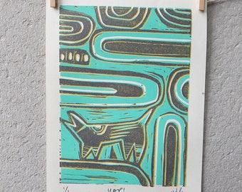 dog art, abstract art, illustration, lino print, limited edition lino print, 5 x 7 print, vintage inspired art, printmaking, cool, gift
