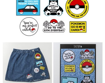 Pokemon Go Catch 'Em All Embroidered Sticker Patch Set Pop Culture Collection