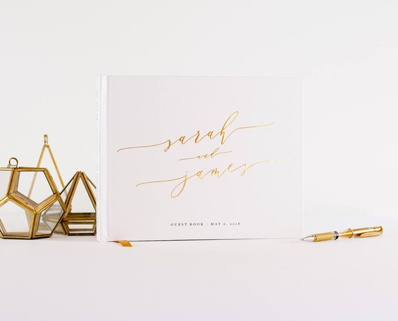 Wedding Guest Book Gold Foil landscape horizontal wedding guestbook wedding book personalized hardcover sign in book photo guest book gold