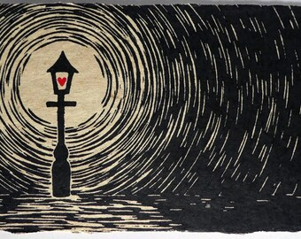 The Lamp - a hand finished linocut on handmade Bhutanese Paper - Signed, Numbered Edition of Just 6