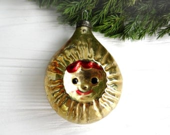 Yellow Sun star ornament Sun Glass Christmas ornament Double sided Christmas tree decoration Soviet vintage Abstract form Xmas gift for mom