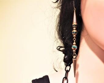 Earrings. Bronze Color Earrings. Dangle Earrings. FREE SHIPPING