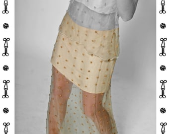 SALE !!! SKIRT embroidered, Lace, beige, sand, linen, handmade , Blouse, pearls, beads, wedding, bride, short, long