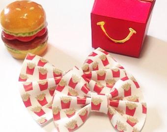 French Fry Bow | Handmade Fabric Hair Clip | Headband Bows
