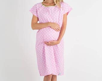 Molly Pink Dotted Labor Delivery Maternity Birthing Hospital Gown Baby Be Mine Gownie Hospital Bag Must Have, Baby Shower Gift, Monogram