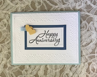 Handmade greeting card:  Happy Anniversary, yellow hearts, blue and white anniversary, love, husband, wife