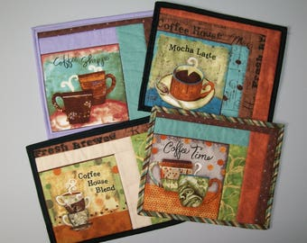 Coffee mug rug - turquoise brown purple  orange green black - coffee shoppe - mocha latte -  coffee time - house blend - coworker gift