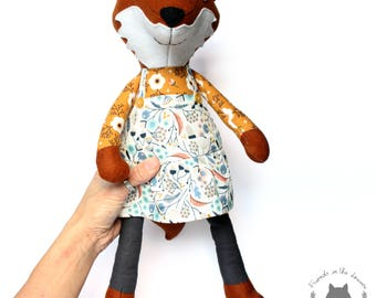 Ooak fox soft toy, stuffed animal, fox soft toy, woodland nursery toy, art doll, baby shower gift,forest animal,birthday gift,kids soft toys