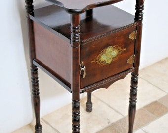 Rare Antique original Cushman Humidor with shelf early parlour Victorian stand