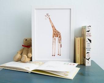 Giraffe Print- Nursery Art- Pen and Ink Drawing- Archival Art Print- limited Edition-Watercolour Print - Hand drawn art- Kids Art