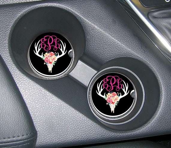 Deer Skull Floral Monogrammed Car Coasters Cup Holder Coasters Design Your Own Personalized Sandstone Coasters Car Accessories For Women