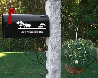 Elephant Mailbox decal, wedding gift, address decal, mailbox sticker, numbers, mailbox address, Custom Mailbox, Address Vinyl, Curb Appeal,
