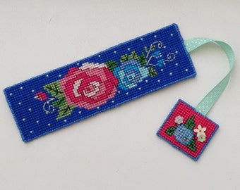 Cross stitch Roses Bookmark with sequin detail
