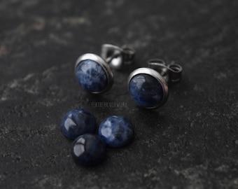 Genuine Sodalite (1 Pair) Handmade Real Stone Bezel Set Stud 316L Surgical Steel Post Piercings Cartilage Lobe Jewelry Earrings