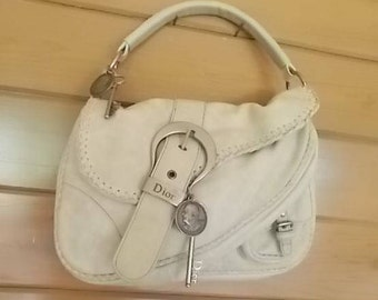 Authentic~CHRISTIAN DIOR~Top Handle~Purse / Bag~Gaucho~Ivory~Great Condition~Dior Handbag~Accessory~all charms