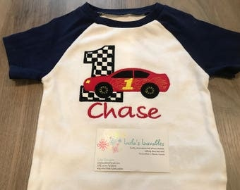 Race car first birthday shirt, choose your colours