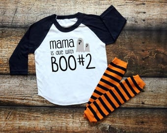 Mama Is Due with Boo #2 Shirt, Big Brother T-shirt, Big Sister Outfit, Children's Halloween Top, Toddler Raglan Tee, Pregnancy Announcement