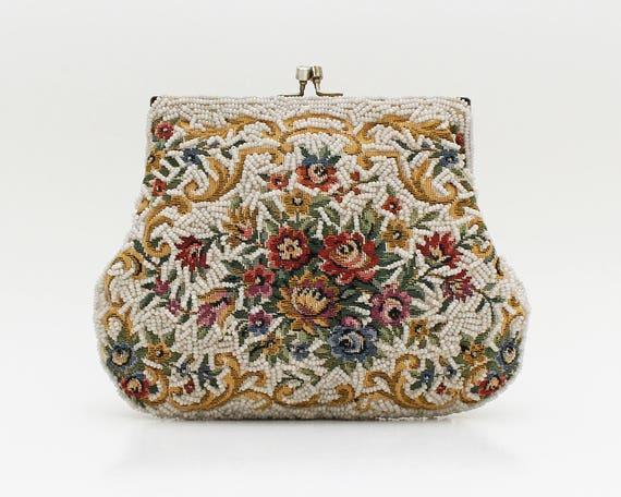 Vintage 1950s Floral Beaded Tapestry Handbag