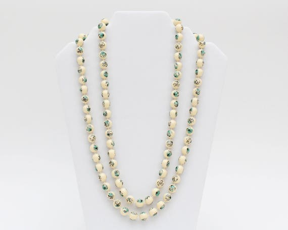 Vintage 1960s Cream and Turquoise Floral Beaded Necklace - 48 Inches