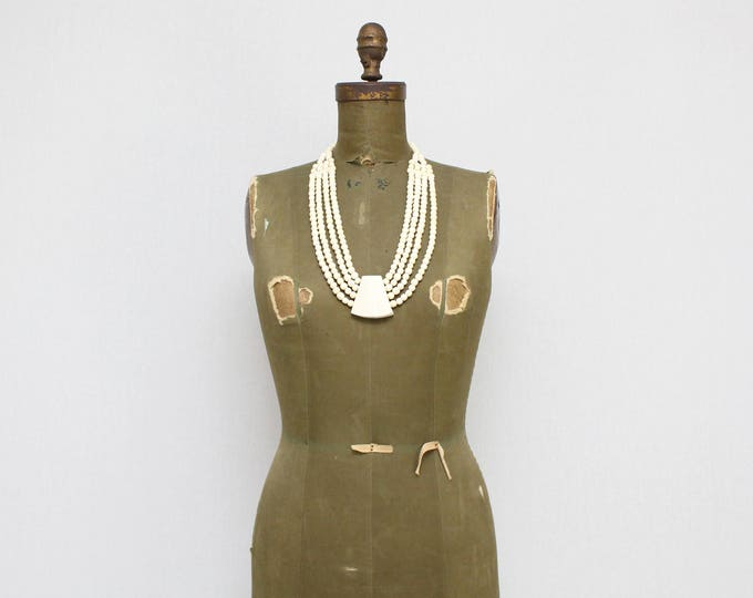 Vintage 1960s Boho Beaded Chunky Bone Necklace