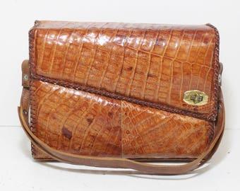 Vintage Womens Brown Alligator Leather Embossed Braided Trim Clasp Close Square Shoulder Bag