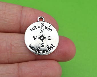 """6 Compass """"Not All Who Wander Are Lost"""" Silver Travel Charms (CH201)"""