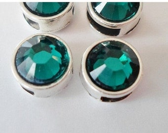 2 5mm Flat Leather Emerald Green Genuine Swarovski Crystal Silver Zamak Sliders