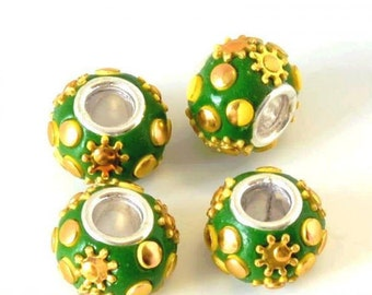 CLEARANCE:  2  Green and Yellow Resin Flower Rondelles