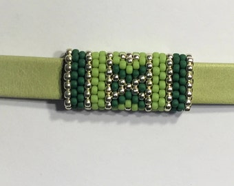 SALE: Versatile Double-sided Handmade Beaded Tube, Apple Green and Silver,  10mm Flat Leather finding, 6mm round cords, jewelry making