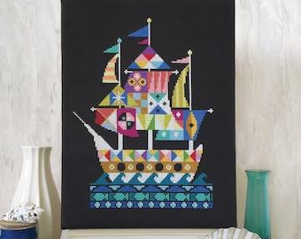 Voyage - printed version - Satsuma Street modern cross stitch pattern