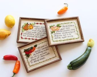 Framed Cross Stitch Set of 3 Vegetables Crewel Embroidery Art Boho Home Decor Gallery Wall