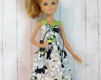 Stacie dress, Bratz dress, dog dress, handmade, Barbie sister, fashion doll clothes, Stacie clothing, Bratz clothing, green and black