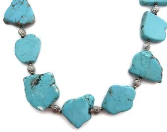 Chunky Turquoise Necklace, Turquoise Fan, Flat Turquoise Stone Necklace, Long Turquoise Bib, Turquoise Beaded Necklace, Howlite, Southwest