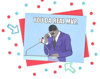 Funny Birthday Card - You Da Real MVP Birthday Card - You Da Real MVP - Funny Dad Birthday Card - Funny Friendship Card - Card For Friend -