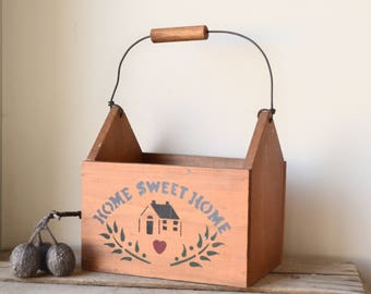 Vintage Wooden Country Style Box with Handle