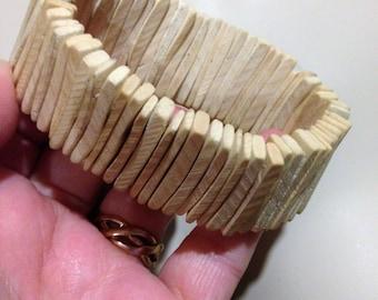 Bracelet  - Unusual untreated elasticated wooden bracelet