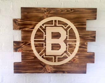 Boston Bruins Rustic Burned Wood Sign