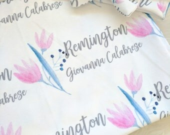 Personalized baby floral name headband and name blanket set: baby and toddler personalized name newborn hospital gift baby shower gift