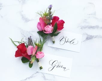 Simple calligraphy place name cards