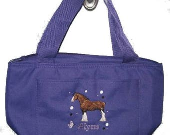 Free Shipping - Personalized Clydesdale Horse Lunch Bag - More Colors - monogrammed - NEW